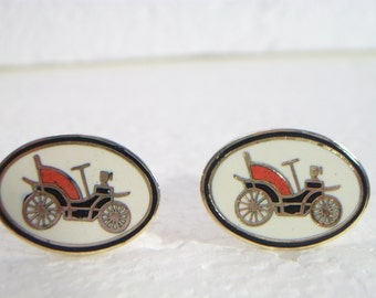 Antique Car Cufflinks Cuff links vintage Buggy IMITATION PAT APP
