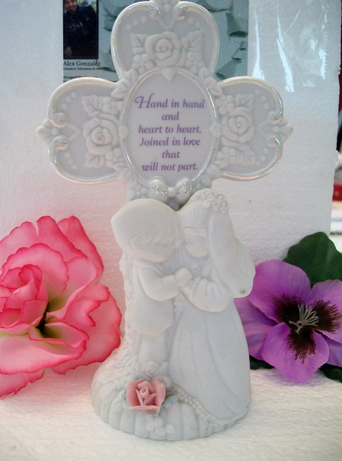 Precious Moments Wedding Cross Figurine Hand In Hand And Heart