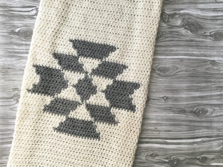 aztec tribal crochet blanket throw baby home knit decor serape