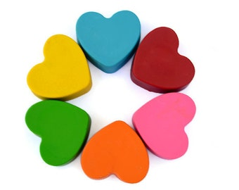 Heart Crayons Set of 6 - Valentines Day Crayons - Chunky Heart Crayons - Valentines Day Party Favors