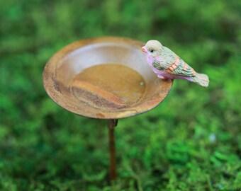 Fairy Garden Birdbath, bird bath, accessories for miniature garden - terrarium - choice of bird