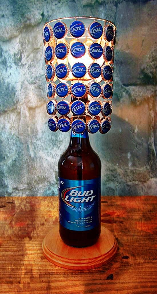 Bud Light 40 Oz Bottle Lamp Complete With Bottle Cap Lamp
