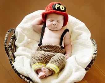 Crochet Fireman Set, Newborn Fireman Outfit, Fireman Hat, Baby Firefighter Outfit, Fireman Boots, Fireman Pants, Crocheted Booties