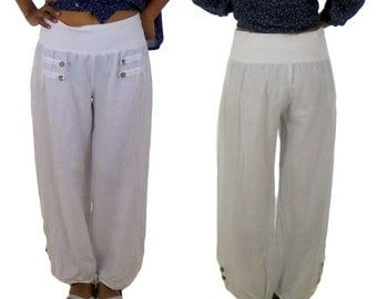 FS700 Women's Trousers balloon pants Layered Look linen Gr. M/L