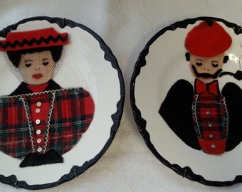 Two plates with felt faces, Victorian outfits, hand painted from 1950's