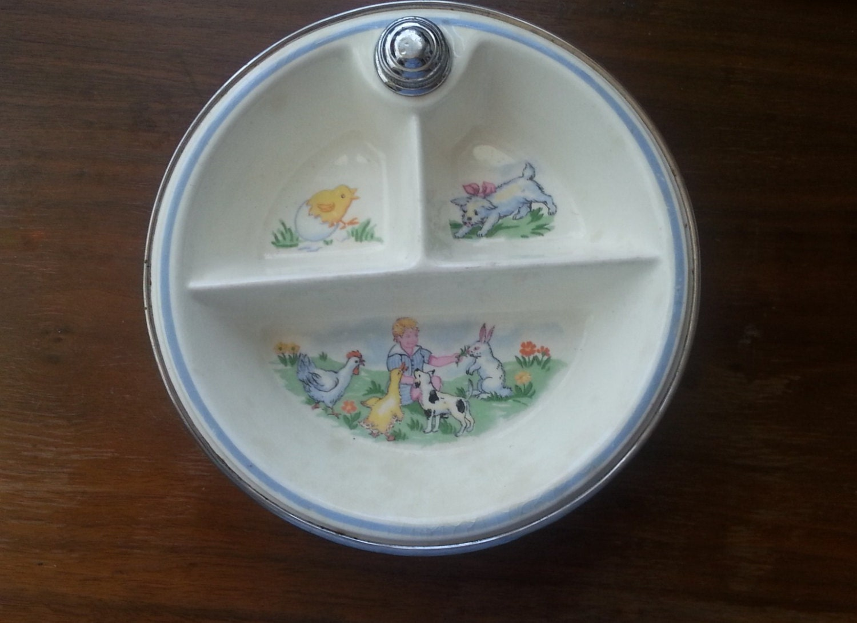 Divided Ceramic Dish Vintage Infant Or Toddler Insulated