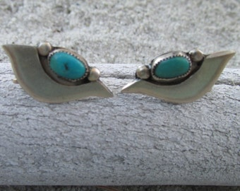 Vintage Sterling Silver Turquoise Earrings Mid Century Modernist Design