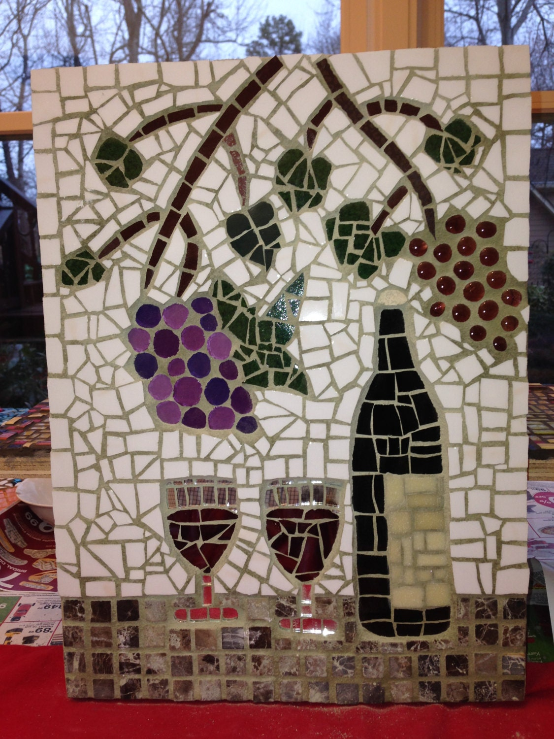 Wine Themed Mosaic Made With Glass And Ceramic Tiles