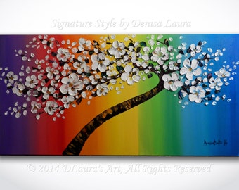 Modern Tree Painting ORIGINAL Large Abstract White Cherry Blossom Tree Palette Knife Rainbow Contemporary Oil Canvas Art 40x20 Denisa Laura