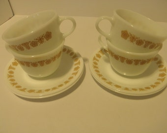 Butterfly Gold Cups and Saucers (Pyrex Cups)-4 Sets