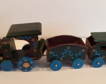 Hand Painted Wooden Train