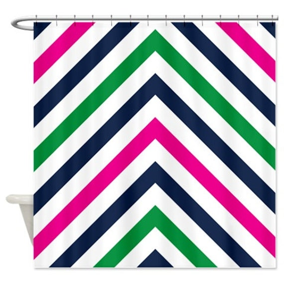 Chevron Shower Curtain Navy Blue Green Hot Pink And White