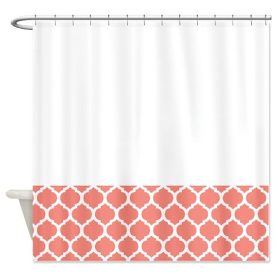 quatrefoil shower curtain coral and white pattern or customize