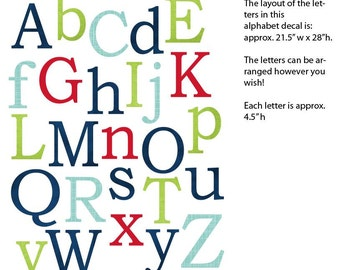 Alphabet Wall Decal, Nursery Wall Decal, Alphabet Wall art, alphabet decal, All American Boy Design