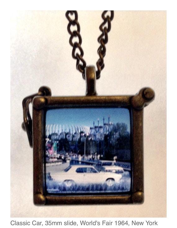 Classic Car, Vintage 35mm slide, Necklace