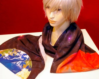 Mars-One 'Void Between' Scarf - handmade galaxy design with planets