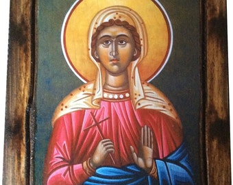 Saint St. Agape / Love - Orthodox Byzantine icon on wood handmade (22.5cm x 17cm)