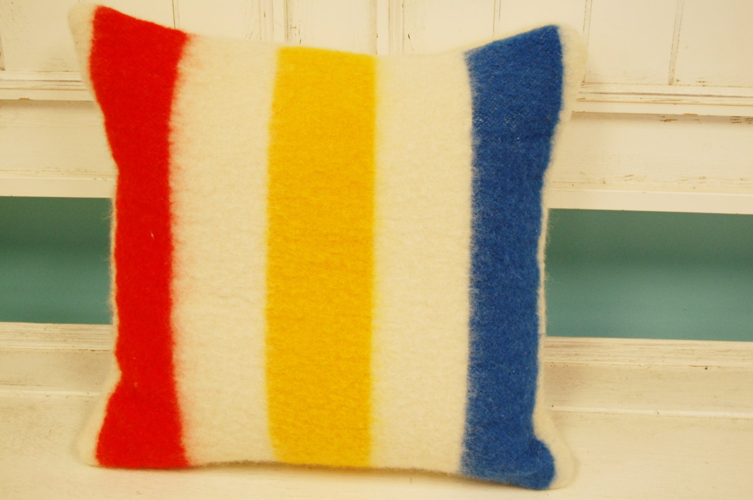 Decorative Pillows Hudson Bay : Hudson Bay Three Points Style Woolen Square Pillow Cream White