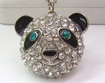 "Treasury List...Vintage Rhinestone ""Panda Bear""..BETSEY JOHNSON...Multi Strand Necklace...B J Tag...Rhinestone Panda Bear"