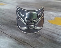 skull and cross sword pirate sterling silver ring steampunk wedding gothic punk