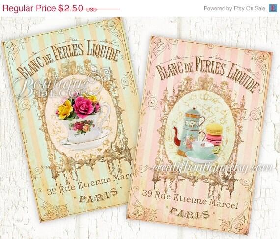 On sale vintage petit dejeuner cards set of 2 by for Set petit dejeuner porcelaine
