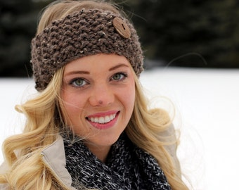 Thick & Chunky Warm Knit Headband with Button