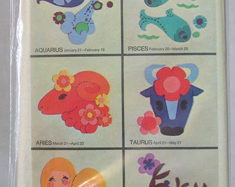 Simplicity Set of Transfers for Appliquing Signs of the Zodiac 1969 / Simplicity Astrology Pattern Transfers