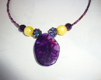 Purple Agate and Yellow Bead Necklace, Handmade