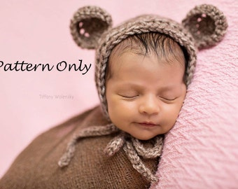 Crochet PATTERN - Teddy Bear bonnet -Instant Download PDF - Photography Prop Pattern