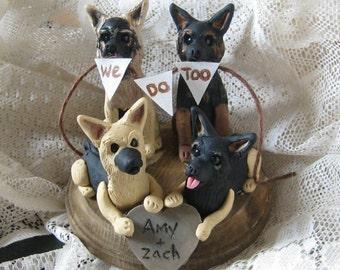 Custom Four Dog  Wedding Cake Topper with bunting/german Shepherd/Pug/Pitbull/Dog wedding/  Rustic wedding/ Grooms cake/ Custom/personalized