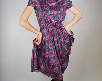 Elegant purple dress, handmade vintage women dress, size S/M