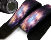 Galaxy  Camera Strap. Cosmos Camera Strap. Stars Camera Strap.   Black Blue Purple Camera Strap