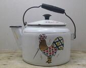Tea Kettle Frank Maietta, Enamelware, vintage, Shabby chic, mid century vintage tea kettle