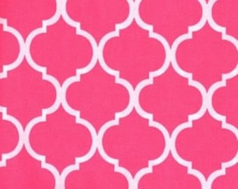 Quatrefoil Fabric ~ Shocking Pink Quatrefoil ~ Hot Pink Quatrefoil ~ Fabric By The Yard ~ Moroccan or Geometric Style Fabric