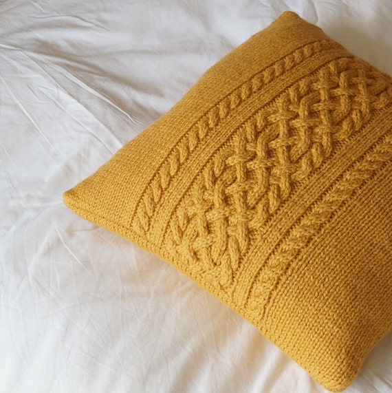 Cable Knit Sweater Pattern Free : Cable knit pillow cover Hand knit Cushion Cover Golden