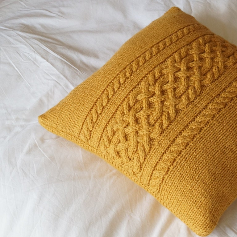 Cable Knit Pillow Pattern : Cable knit pillow cover Hand knit Cushion Cover Golden