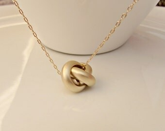 Gold Knot Necklace, Knot Necklace, Gifts for Girls, British Seller UK, Bridesmaid Gifts, BFF Necklace, Mom Gift, Statement Necklace