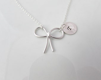 Bow Necklace, Silver Bow Necklace, British Seller UK, Gifts for Girls, Ribbon Necklace, Bridesmaid Necklace, Bridesmaid Gift, For Mom
