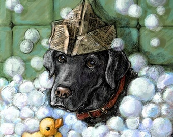 "Black Lab Art - Labrador Retriever in Bathtub - 16""x16"" Framed Artwork"