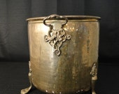 Vintage Hand Hammered & Riveted Copper / or Brass Fireplace bucket