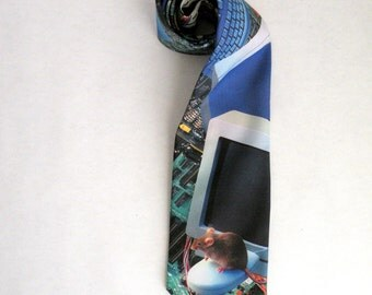 Computer Geek Techie Vintage Necktie with Computer Mouse