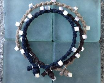 Bracelet Colo 09 Sterling Silver .925 Cotton Cord Handmade (B109SS-C)