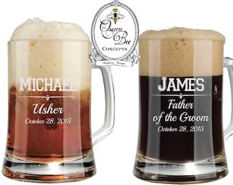 16 ounce Beer Mug-Groomsman Gift, Laser Engraved Mug, Wedding Gift, Personalized Beer Mug, Wedding Party Favor, Free Engraving