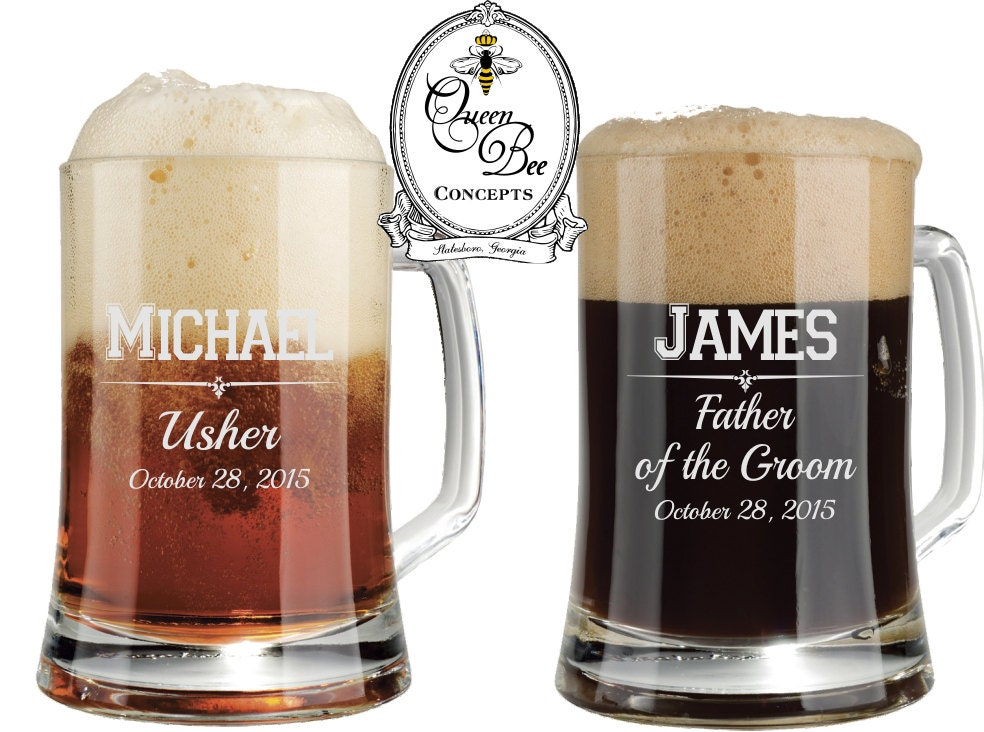 Wedding Gift Beer Mugs : 16 ounce Beer Mug-Groomsman Gift Laser Engraved Mug Wedding