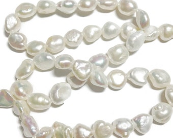 White keshi nugget pearls.   Select a size: 6.5x8mm, 8x9mm