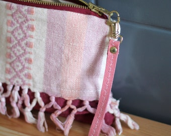Natural leather purse / 100% repurposed pink leather and tribal fabric / mini clutch bag / make up bag