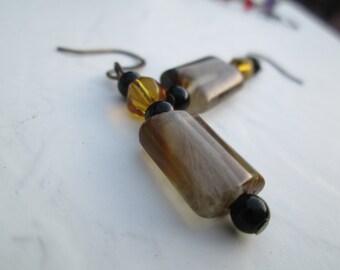 Caramel and Black glass earrings