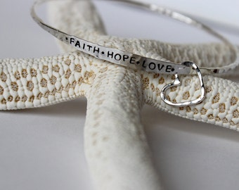 Custom Stamped Bangle with Heart Charm