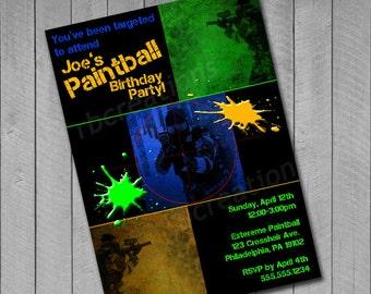 Paintball Invitation, Paintball Party, Paintball Invite, Paintball Birthday Party, Paintball Printables - Digital Printable