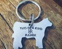 Farmer and rancher keychain, gift for showing cattle, farm name, ranch name, farmer gift, rancher gift, cow keychain, personalized, custom